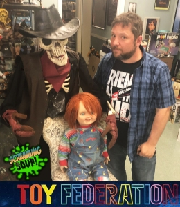 Screen Used Cult of Chucky doll and Deadwest with pathological photobomber